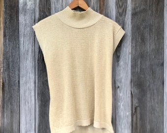 Vintage Gold Top, Blair Vintage, 80s, Sleeveless, Glitter, LargeFree Domestic Shipping