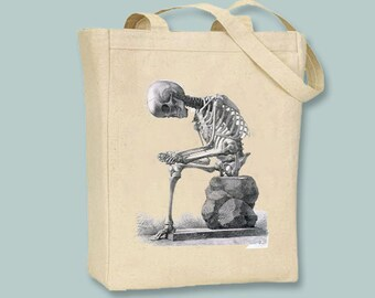 Detailed Sitting Skeleton on a canvas bag -- Selection of sizes available