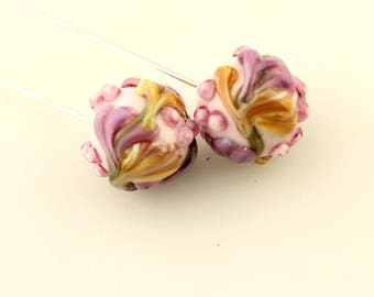 Lampwork Glass Bead Head Pins  Headpin Floral on Fine Silver Wire Green, Lavender, Pink  Flowers