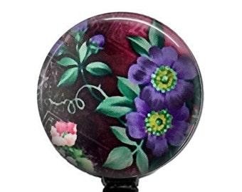Purple Flower ID Badge Reel, Retractable  ID Badge Holder  327
