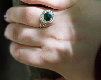 Wire Wrapped Ring - Birds Nest - Silver Wire with Chrysocolla