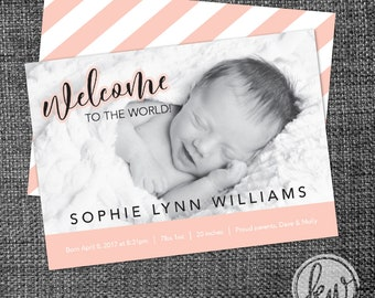 Modern Birth Announcement, Digital Download, 5x7 Flat Card, Multiple Colors Available