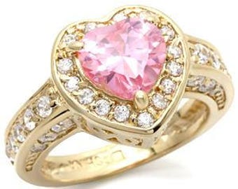 Ring - reflos068 - gold - plated set with white cz and a central rose - heart motif