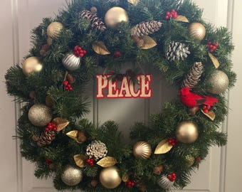 Peace Holiday Wreath 20inches