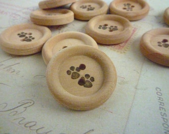 Wooden Buttons - 7/8 Inch Round - Stamped Paw Print Collection - Pack of 10