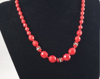 Vintage West German Necklace, Red Glass Beads, Rhinestones c. 1950-1960