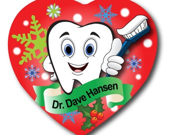 Dentist Hygienist Personalized Christmas Holiday Heart Ornament Double 2 Sides Tooth