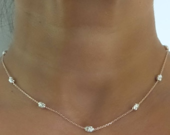 Diamond cut Choker/ Sterling Silver Faceted Beaded Necklace/ Delicate Necklace/ Rose Gold Plated Sterling Silver Necklace