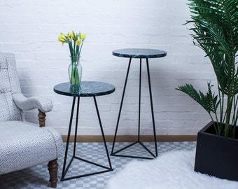 Green Marble Side Table TRIANGLE - Genuine Round Green Verde Stone on Black Metal Legs
