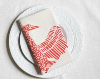 Tea Towel - Bird Print Tea Towel - Screen Printed - Tea Towel Flour Sack - Tea Towels - Cormorant - Orange - Housewarming Gift - Dishcloths
