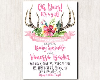 Oh deer tropical baby shower invitations, Little Deer Baby Sprinke Invitation, Antlers Baby Shower invitation, Baby Sprinkle invitation-1798