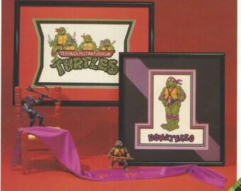 Vintage Donatello & Teenage Mutant Ninja Turtles Counted Cross Stitch Leaflet 9001 by Plaid Enterprises Cross Stitch Charts Boys Rooms