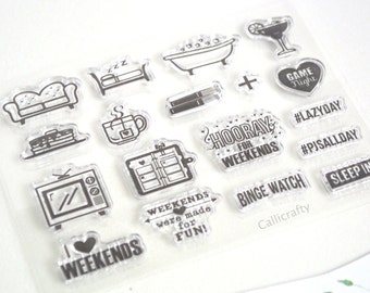 Weekend Vibes Stamp, Rubber Stamps, Travel Stamps for Traveller's Notebook, Journal Accessories - STM038