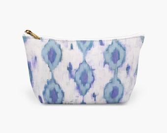 Blue Ikat Makeup Bag, Preppy Cosmetic Bag, Luxury Print Toiletry Bag, Cosmetic Bridesmaid Gifts