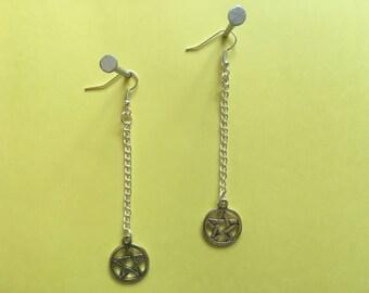Pentagram Drop Chain Earrings (dangly, long, halloween)