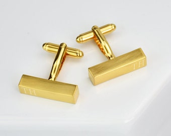 Personalised Brushed Gold Initial Bar Cufflinks - Gift For Dad - Personalized Cufflinks - Wedding Cufflink - Gift For Grandad [ECUFF-001-BG]