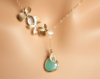 Wedding Tripe Orchid Flowers with Initial Leaf Lariat Y Necklace, Aqua Blue  Stone in bezel - GOLD , Lovely Bridal jewelry, Bridesmaid gifts