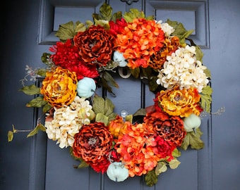 Large Door Wreath, Fall Wreath Door, Fall Wreath With Pumpkins, Blue Pumpkin Wreath, Autumn Decor With Rustic Pumpkins