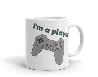 I'm a player mug retro gamer geeky gamer gift geeky husband gift for dad gift for husband gift for him gift for boyfriend game controller
