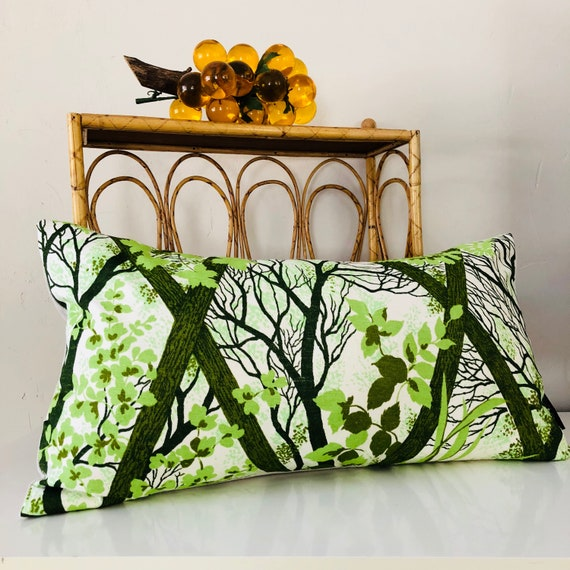 "Retro Green Pillow Cover 14""x24"" Lumbar Cushion Pillow Bohemian Green Tree Landscape Home Decor Pillow Vintage Green Botanical Foliage"