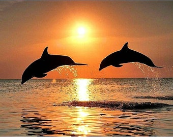 5D DIY Diamond Painting Sunset Water Dolphin Cross Stitch Full Square Drill 3D Diamond Painting kit Sticker Home Decoration Gifts