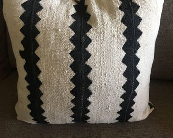 White and black Mudcloth pillow