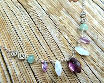 Multi-Gemstone Necklace w/Kunzite, Moonstone, Aquamarine, Amethyst. Moonstone Necklace - Marquise Necklace - Briolette Necklace - Natural