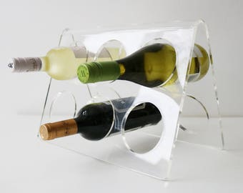 70s 80s lucite perspex acrylic plexiglass 6 bottle wine rack