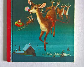 Rudolph the Red-Nosed Reindeer by Barbara Shook Hazen --- Illustrated by Richard Scarry --- Vintage 1950's 1960's Children's Picture Book