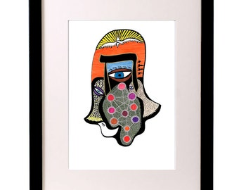 Hamsa Art Print, Judaica Art, Hamsa Hand, Hand of Miriam, Hebrew Letter, Kabbalah Art, Tree of Life, Modern Jewish Art, Eye Art, Typography
