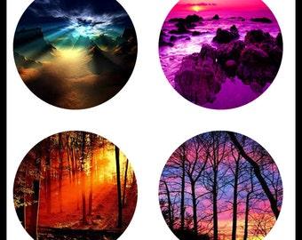 Beautiful Sunsets - Digital Downloads - Collage Sheets - Sunset Pendants - 30mm Glass Pendants - Necklaces - Bottlecaps - DDP600