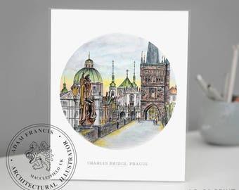 Charles Bridge   Prague  . Art Prints from my detailed pen drawing & watercolour painting. Praha   Karlův Most   Prague art