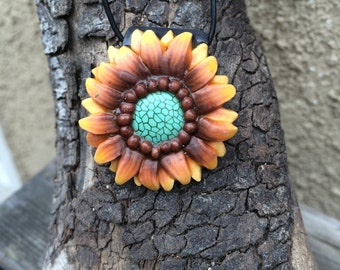 Yellow polymer clay sunflower, hand made!!