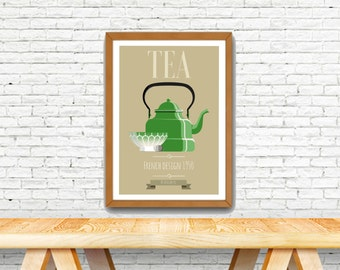 Poster vintage with french design, old green kettle, french style poster.
