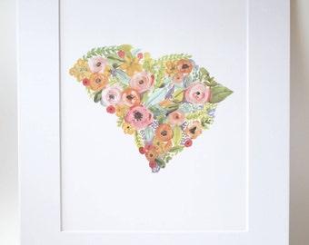Floral South Carolina Print