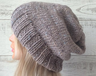 Knit hat, womens hat, mens hat, knit slouchy hat, chunky knit hat, knit slouchy hat beret