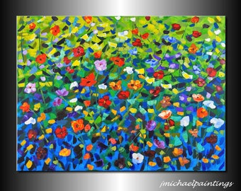 Impressionism Abstract Wildflower Flowers Palette Knife Painting Canvas Contemporary  Vivid Landscape 30x40 Over the Couch Bed JMichael