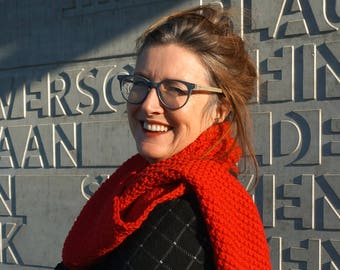 knitted scarf in pure wool/alpaca blend/ handmade/ red scarf/ double moss st