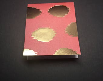 Gold Polka Dots Mini Notebook - Red Notebook - Gold Notebook - Small Notebook - Small Notepad
