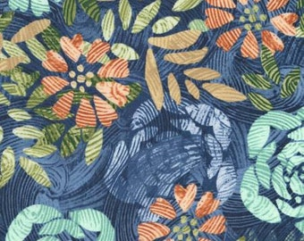Tranquility Denim Flowers by Wing and a Prayer Design - Timeless Treasures #C6054 Denim - Blue Floral Cotton Fabric - By the Yard