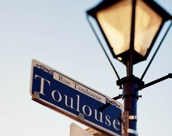 new orleans art, toulouse street sign, french quarter art, lamp post,  new orleans photography, french quarter photography