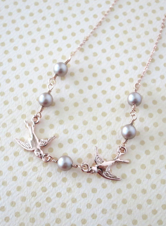 Rose Gold Love Birds and Pearls Bracelet - rose gold, Swarovski pearl, Romance Sweet Love necklace, bridal bridesmaid necklace, Brown pearl