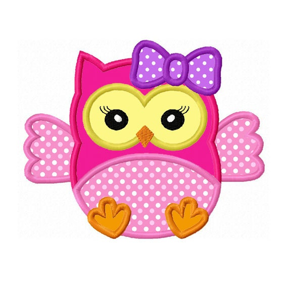 Girl baby owl applique machine embroidery design no 0144 for Embroidery office design version 9