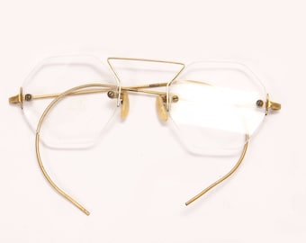 1920s 1930s Octagon Frameless Floating Glass Lenses Gold Tone Metal Eyeglasses