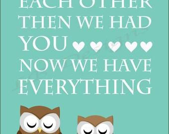 Owl Nursery Print, Woodland Nursery Print Decor, Fox Nursery Decor, Gender Neutral Nursery, Owl Family, Gift for New Baby, Nursery Quote