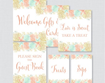 Nautical Bridal Shower Table Signs - Printable Coral and Aqua Beach Themed Bridal Shower Decorations - Welcome Sign, Favors Sign, etc 0012-C