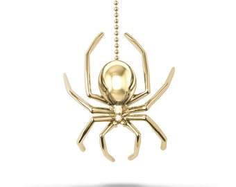 Large Spider Lariat Necklace, Solid Yellow Gold