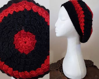 THE VINTAGE TAM Handmade 1940s Landgirl Boho Alpaca Wool Blend Crochet Knit Beret Hat Black Red