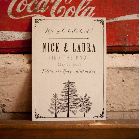 Tree Wedding Announcement, Rustic Wedding Announcement - The Larch - Eco, trees, rustic, kraft, elopement announcements, kraft invitations