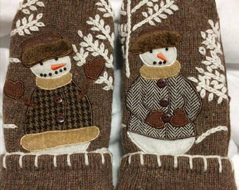 Snowman mittens from upcycled sweaters